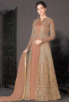 Shop brown net designer achkan style suit , freeshipping all over the world , Item code Pakistani Dress Design, Pakistani Dresses, Indian Dresses, Frock Fashion, Abaya Fashion, Fashion Outfits, Women's Fashion, Indian Wedding Gowns, Indian Bridal Fashion