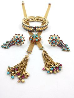Vintage HATTIE CARNEGIE Necklace Clip Earrings Bracelet Rhinestone Gold Plated Parure Set by GalleryThreeSixty on Etsy, $594.95
