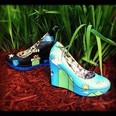 Custom Painted Mario Wedge Shoes
