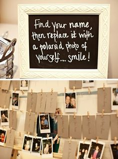 Love this idea... polaroid guest book and seating chart