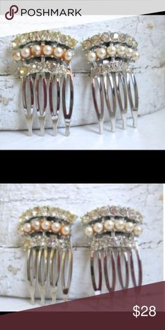 Art Deco Hair Combs Repurposed vintage Art Deco jewelry handmade into lovely rhinestone hair combs. New and packaged. One of a kind. Vintage Accessories Hair Accessories