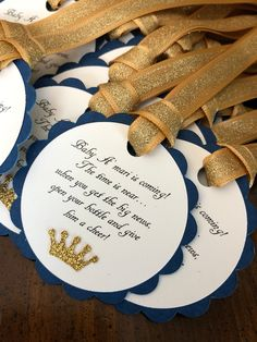 navy and gold glitter baby shower favor tags * barefoot wine party favor tags * navy and gold baby shower * navy and gold prince baby shower by declanandsmith on Etsy Barefoot Wine, Baby Shower Party Favors, Party Favor Tags, Gold Baby Showers, Baby Boy Shower, Birthday Party Decorations, Baby Shower Decorations, Having A Baby Boy, Wine Parties