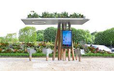 Escale Numérique : designed by Mathieu Lehanneur - shelter with interactive signage and plug-points for laptops