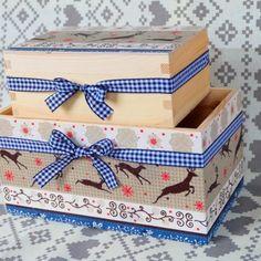 Zestaw pojemnik i pudełko renifery scandi