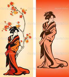 Осень гейши - Стоковая иллюстрация: 30190663