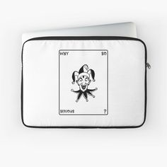 'Funny Joker Clown Card' Laptop Sleeve by Artemix Joker Clown, Funny Joker, Back To Black, Laptop Sleeves, Dc Comics, Playing Cards, Printed, Awesome, People