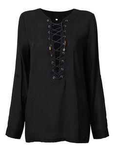 Sale 18% (12.99$) - Women Chiffon Lace Up Long Sleeve V Neck T-Shirt