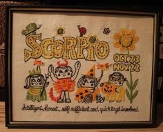 Vintage Scorpio October 23-November 22: Intelligent, honest, self-sufficient and quick to get involved (handmade 1970s yarn art)