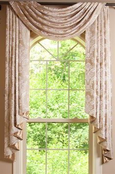 Picture of Gold Ivy - Flip Pole Swag Style Patio Door Drapes, Swag Curtains, Home Curtains, Curtains With Blinds, Arched Window Treatments, Arched Windows, Window Coverings, Front Windows, Swags And Tails