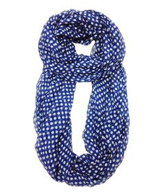Look what I found on #zulily! Blue & White Polka Dot Infinity Scarf by East Cloud #zulilyfinds