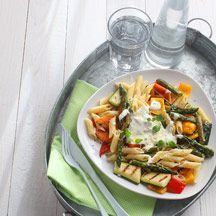 Pasta med grillade grönsaker