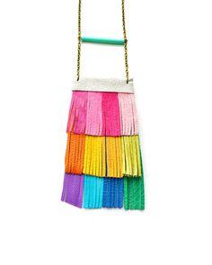 Rainbow Leather Fringe Necklace