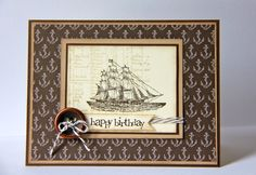 Jenn's awesome card uses The Open Sea, Nautical Expedition dsp (retired), and a Bronze button.