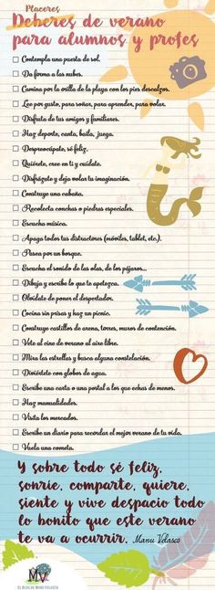 deberes de verano para alumnos y profes ✿ ✿ Share it with people who are serious about learning Spanish!