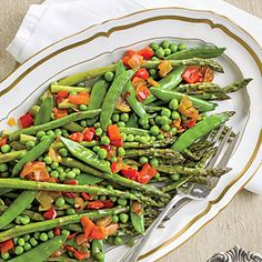 Our Favorite Easter Side Dishes | Asparagus with Red Pepper Chowchow | SouthernLiving.com
