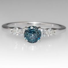 Elegant .69 Carat Montana Sapphire & Diamond Ring 14K