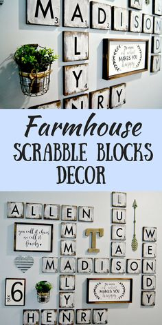 """Oooh, I love these scrabble decor blocks! They will look amazing in my house! Large Scrabble Tiles , 5.5"""" wood tiles blocks, Gallery Wall Decor, Farmhouse Style Decor, Scrabble Tiles, Personalized Sign, Wood Letter #ad #afflink #farmhouse #homedecor"""