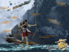 Figma Akagi, tweaked with photoshop to depict a fierce naval battle. Higher Res