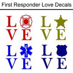 First Responder Love Decals/Firefighter by LundtLetteringDesign Silhouette Vinyl, Silhouette Cameo Projects, Silhouette Design, Silhouette Cutter, Silhouette Machine, Vinyl Crafts, Vinyl Projects, Cricut Vinyl, Vinyl Decals