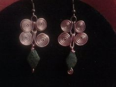Green Agate and Copper Swirl Dangle Earrings by CRoanCollections, $15.00
