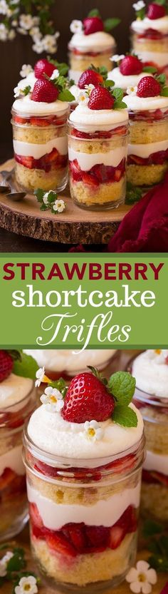 Strawberry Shortcake Trifles - Can't wait to make them again! Fluffy sour cream cake, cream cheese whipped cream and sweetened strawberries. Shortcake Trifles - Can't wait to make them again! Fluffy sour cream cake, cream cheese whipped cream and sweetene Trifle Desserts, Mini Desserts, Summer Desserts, Just Desserts, Delicious Desserts, Dessert Recipes, Tiramisu Trifle, Cheesecake Trifle, Dessert Shooters