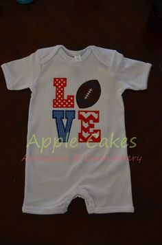 Red and Blue Football Love Romper, Ole Miss Rebel