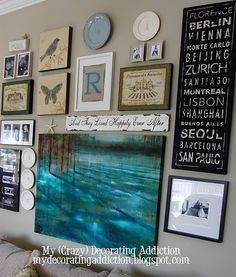 My new gallery wall will contain a botanical print or two or three, mirror, shelf, vintage window, vintage sign, chalkboard, family photos, bird print, hooks, candle or sconce, monogram, beautiful blues, and random quirky collectibles.