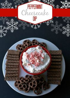 Peppermint Cheesecake Dip Recipe: Ready in just FIVE MINUTES! | www.foodfolksandfun.net | #HolidayRecipe #ChristmasDessert #DessertDip