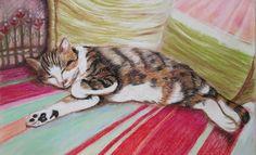 Portrait de Maya endormie sur le canapé : Peintures par marie-lumiere