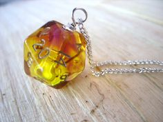 D20 dice pedant ombre purple orange yellow transparent geek gamer DnD role playing RPG dice jewelry dice necklace translucent. $20.00, via Etsy.