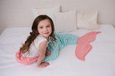 Mermaid Tail - Mermaid Blanket - Mermaid Sleep Sack- Aqua Coral - Minky Mermaid…