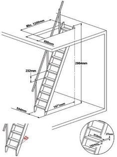 Dolle Arundel Wooden Space Saver Staircase Kit (Loft Stair) - Suitable for a Floor Height up to Space Saver Staircase, Attic Staircase, Loft Stairs, Staircase Railings, Stairways, Wooden Ladder, Wooden Stairs, Stair Ladder, Escalier Art