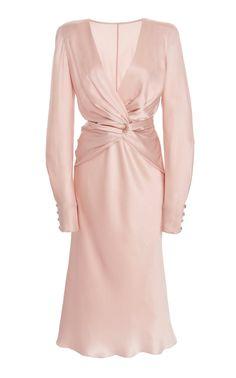 Silk Deep V-Neck Midi Dress by Alberta Ferretti V Neck Midi Dress, Silk Midi Dress, The Dress, Day Dresses, Dress Outfits, Fashion Dresses, Fashion Photo, Fashion Models, Fashion Looks