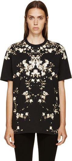 Givenchy: Black Babysbreath T-Shirt | SSENSE