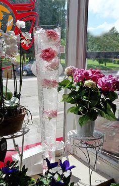 Ruusuja upotettuna vesiastiaaan, hieno koriste juhlatilaisuuksiin. Roses in water, for celebration