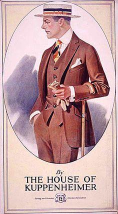 J.C. Leyendecker,  illustration art for Kuppenheimer ad.