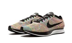 Nike Flyknit Racer Running Shoes Mens 7.5 Rainbow Dark Grey Blue Glow 526628 004 #Nike #RunningCrossTraining
