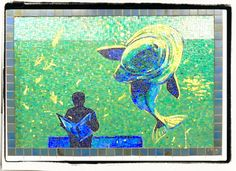 """Mosaic's from the #1 subway line at Houston Street in Greenwich Village. Mosaic is from a series of 5 called """"Platform Diving"""" (1994) by New York artist Deborah Brown.--photo by Gayle Alstrom"""
