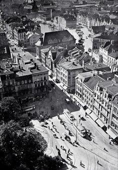Blick vom Turm der Schlosskirche auf den Wilhelmsplatz in Königsberg. Ganz oben kann man das Hundegatt und die Speicherhäuser auf der Lastade erkennen.  ca. 1930er Jahre