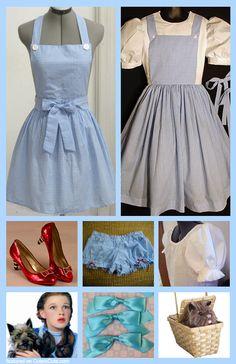 blue gingham apron + white blouse + underskirt We need this! Diy Dorthy Costume, Dorothy Halloween Costume, Halloween Kostüm, Diy Halloween Costumes, Halloween Cosplay, Book Week Costume, Cute Costumes, Costume Ideas, Halloween Disfraces