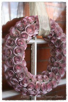 Magenta Paper Rosette Wreath 14 by BettySusanne on Etsy