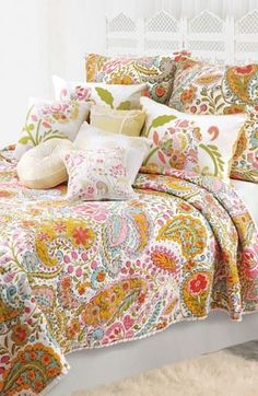 So pretty! This floral and paisley print is great for a bedroom update.