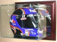 Old Ghost Collectibles - Racing Full Size Helmet Wall Mounted Glass Display Case, $120.00 (http://www.oldghostcollectibles.com/wall-mounted-racing-full-size-helmet-glass-display-case/)