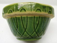 "Old 5"" Primitive Crock Mixing Bowl (Green Yellow Ware) Made By Oven Ware."