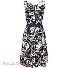 Buy Viyella Floral Fit And Flare Dress, Navy | remarkablelaw