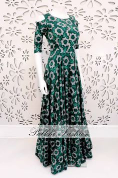 PalkhiFashion Designer Full Flair Green Silk Outfit With Trendy Design & Cold Shoulder Look. Dress Indian Style, Indian Fashion Dresses, Indian Gowns, Indian Designer Outfits, India Fashion, Indian Outfits, Frocks And Gowns, Cotton Gowns, Fancy Gowns