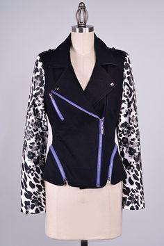 White Asymmetric Zip Up Jacket In Animal Print Vegan Leather Sleeve Moto Jacket
