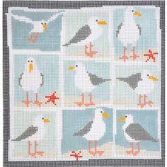 Seagulls by PippinSize: 8 Cross Stitch Sea, Cross Stitch Cards, Modern Cross Stitch, Cross Stitch Designs, Cross Stitching, Cross Stitch Embroidery, Cross Stitch Patterns, Needlepoint Patterns, Hand Embroidery Patterns