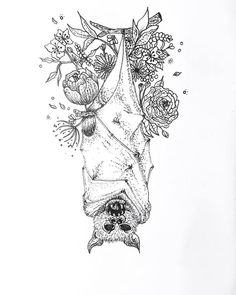 Vampire Bat ✨ For this one I decided to mix it with some flowers because even evil creature can jave a rest 👐🏻 Dogwood Tattoo, Vampire Bat, Graduation Caps, Line Art, Rest, Creatures, Illustrations, Abstract, Tattoos