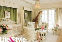Mariah Carey and Nick Cannon's Traditional Nursery. Forgoing a pink and blue color scheme, Mariah and Nick's classically decorated nursery was primarily outfitted in green, with pink accents (and butterflies, of course) scattered throughout. Nursery Twins, Nursery Room, Cream Nursery, Royal Nursery, Giraffe Nursery, Giraffe Baby, Jungle Nursery, Child's Room, Chic Nursery